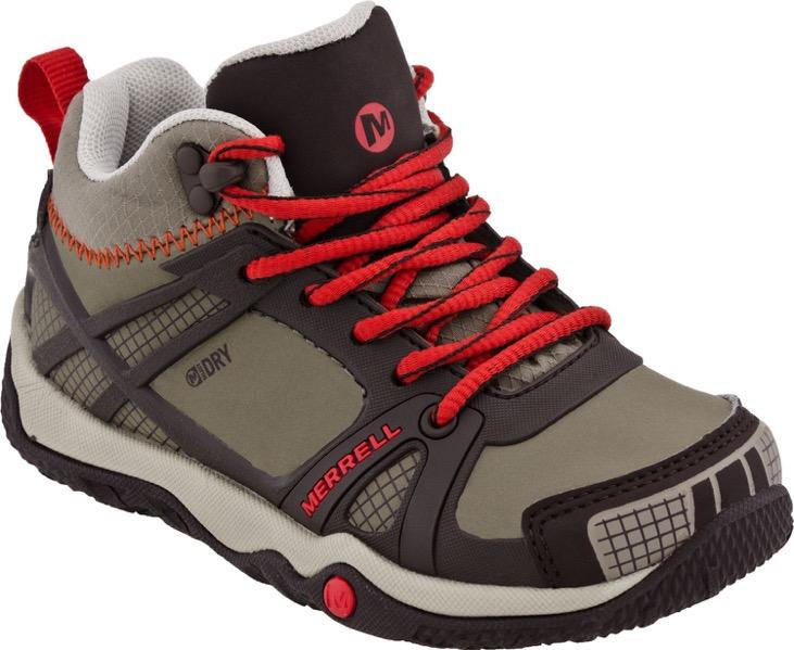 merrell proterra mid waterproof kids hiking shoes coffee bean red nib